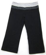 Lululemon Crop Reversible Black Gray Pin Stripe Fitness Yoga Pants Sz 4