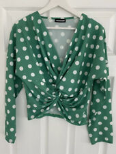 FOREVAYOUNG Green Spot Long Sleeve V-Neck Front Knot Blouse Size S