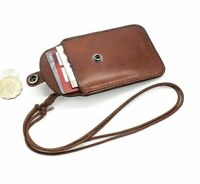 ID Badge Holder Cowhide Retractable Lanyard Name Tag Credit Card Vertical Case