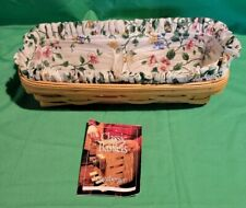 Longaberger 2000 Cracker Basket with Flowered Liner and Protectors