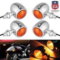 4Pcs LED Chrome Bullet Turn Signal Lights Indicator For Harley Motorcycle New