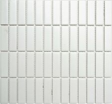 WHITE MAT Mosaic tile Sticks Ceramic WALL BATHROOM & KITCHEN 24-0111 | 10 sheet