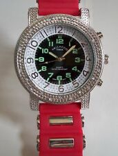 Men's Silver Finish Hip Hop Bling/Red  Rubber Silicon Band Fashion Wrist Watch