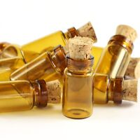 10/30/50/100Pcs 1ml (11x22mm) Small Tiny Empty Glass Bottle Vial with Cork Brown