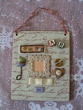 Baby gift ceramic plaque Silvestri by Demdaco beads, ribbon, button