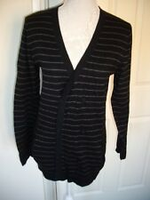 """BAKER BY TED BAKER BOY'S BLACK STRIPED CARDIGAN 16 YEARS 37"""" CHEST GREAT COND"""