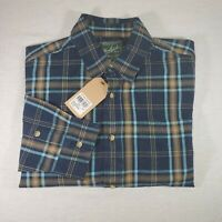 New Woolrich Red Creek Long Sleeve Button Up Shirt Large Blue Plaid