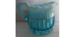 """Davidson  c1890   Pearline  Glass   Jug   2.1/4""""  Inch   Pretty  Two  Tone  Blue"""