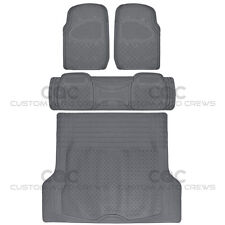 4pc Full Set All Weather Heavy Duty Rubber Gray SUV Floor Mats Trunk Liner