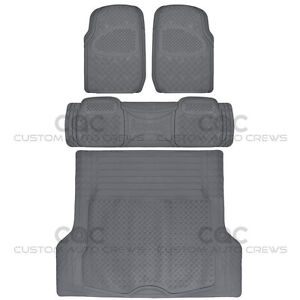 4pc Full Set All Weather Heavy Duty Rubber Gray SUV Floor Mats Trunk Liner⭐⭐⭐⭐⭐