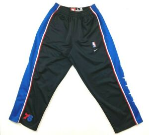 Vintage Nike Rewind 77 NBA Philadephia 76ers Throwback Warm-Up Snap-Up Pants L