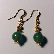 Green Aventurine Gemstone Yellow Gold Plated Dangle Earrings Beautiful Jewelry