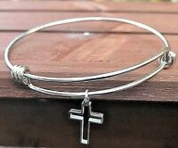 Cutout Cross Charm Bangle Bracelet Stainless Steel Expandable Wire Christian
