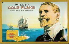 Wills Gold Flake Francis Drake embossed steel sign  300mm x 200mm (hi)