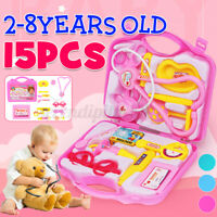 Toy Medical Kit Kids Pretend Play Dentist Doctor Set Playset Carrying Case 15PCS