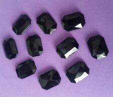 20 ACRYLIC RHINESTONE CABOCHONS 18mm BLACK FACETED ~ Rectangle / Oblong
