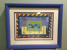 """Watercolor by Helen Daniel, Signed 243/1000, Framed, Double Matted """"Mildred Moo"""""""