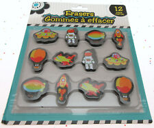 Kids Erasers Space Rocket Alien Saucer Zepplin ~ 12 pack