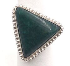 Sterling Silver Off Set Malachite Triangle Ring Size 8.5 11.2grams