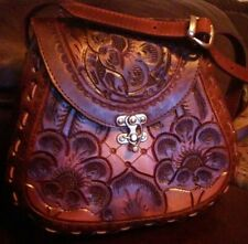 100% genuine mexican cowhide leather Hand Tooled, detailed flower vintage Purse