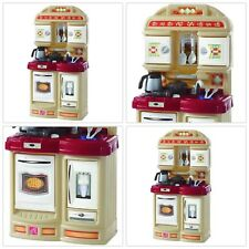 Cozy Kitchen Playset Kids Pretend Play Toy Oven Cabinet Fridge Movable Facuet