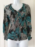 Womens Joseph Ribkoff Black Paisley Ruffle Ruched Stretch Zip Up Light Jacket 16