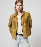 Brown Leather Jacket Women Pure Suede Fringe Size XS S M L XL XXL Custom Made