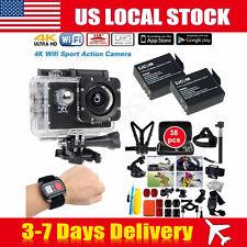 US SJ8000 4K 16MP Waterproof WIFI Sport Camera+2 Batteries+38 in1 Accessories
