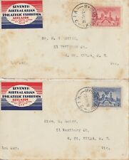 Stamps 1936 Centenary South Australia 2d red & 3d on pair covers 7th philatelic