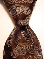 IKE BEHAR Men's 100% Silk Necktie USA Luxury Thick SWIRLY Floral Brown/Blue EUC