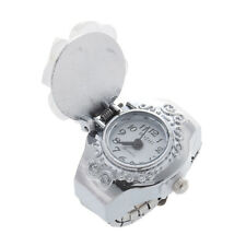 Superior White Clover Round Dial Finger Ring Quartz Watch For Lady T4O5