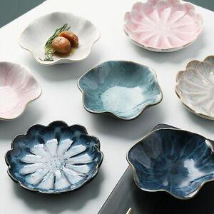 Flower Shape Plate 11x2.5cm Ceramic Dip Sauce Porcelain Kiln Glazed Serving Dish