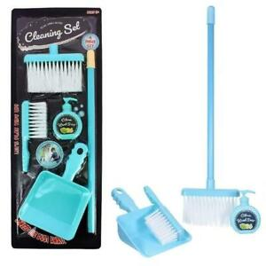 4Pc Kids Cleaning Sweeping Play Set Broom Brush Dustpan Pretend Toy Role Play