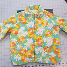 Vintage 60s Youth Girl's Jacket Top Multicolor Psychedelic Floral No Size Tag
