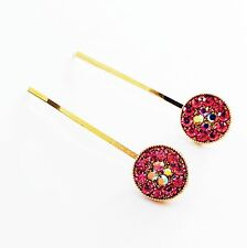 USA Bobby Pin Rhinestone Crystal Hair Clip Hairpin Simple Fashion Gold Pink 1