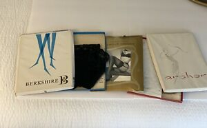 (3) PAIRS HOSE Stockings Black Garter NIB VINTAGE Berkshire Archer Victoria