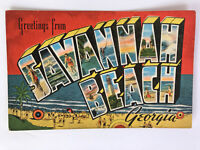 Greetings from Savannah Beach, Georgia GA Vintage Large Letter Post Card