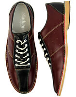NEW MENS RETRO MOD 60s NORTHERN SOUL BOWLING SHOES Madcap BURGUNDY/BLACK Dude
