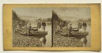 Scena Da Genere La Pesca Foto Stereo Vintage Albumina c1860