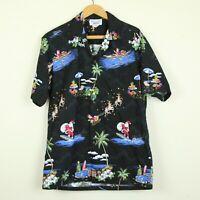 Vintage 90s Hawaiian Camp Shirt Christmas Surf Santa Aloha Black Cotton M