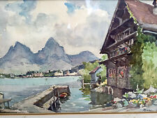 "Marc Vintage Watercolor Painting Lakeside Chalet 19x15"" Wood Frame L.A,Calif."