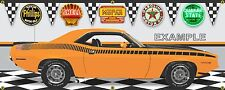 1970 PLYMOUTH AAR CUDA ORANGE VITAMIN C CAR GARAGE SCENE BANNER SIGN ART 2' X 5'