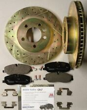 DISCOVERY 3 FRONT DRILLED AND GROOVED BRAKE DISCS AND FERODO PAD KIT - V8 MODELS