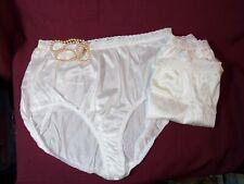 3 Pairs Soft Shiny Panties White Nylon size 12