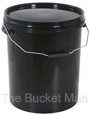 5 x 25 L Ltr Litre Black Plastic Buckets Containers with Lids & Metal Handles