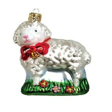 Lamb with Red Bow Polish Mouth Blown Glass Christmas Ornament Tree Decoration