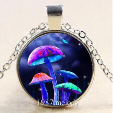 Photo Cabochon Glass Silver Chain Pendant Necklace(Magic Mushroom)