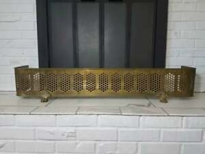 "Vintage Curved Brass Fireplace Fender- 46.5"" -Ships Free! (Hearth Mantel Screen)"