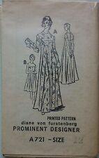 Vintage 1970s patrón de costura A721 prominente diseñador vestido Diane von furstenberg