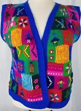 Peruvian Art & Design Vest Knit Handmade Rainbow Multi Color Art To Wear Alpaca